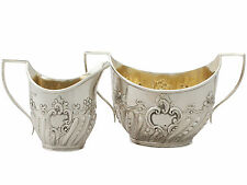 Victorian Sterling Silver Cream Jug and Sugar Bowl 1890s