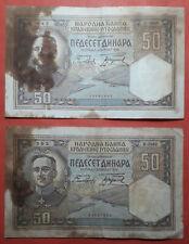 Lot of 2 Yugoslavia Kingdom 50 Dinara 1931