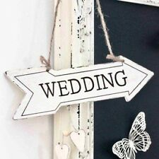 Hanging White Wooden 'Wedding' Arrow with Hearts
