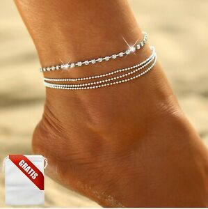 Fußkettchen Damen Silber Diamanten Kette Perlen Strand Fußkette Fusskette Frauen