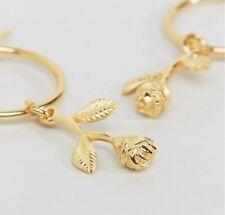 ASOS Gold Plated Sterling Silver Rose Charm Hoop Earrings