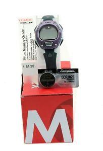 Timex Ironman 30-Lap Memory Chrono Watch Women's $54 Purple NOS w/Replacmnt Batt
