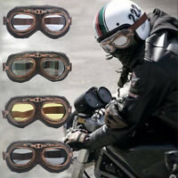 Retro Vintage Helmet Glasses Motorcycle Flying Eyewear Cafe Racer Riding Goggles
