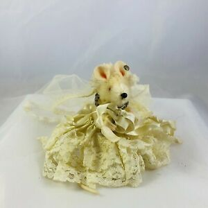 Vintage Steiff Royal Pieps Mouse Bridge Dressed Mohair with Button in Ear