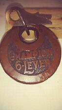 antique/vintage miller champion 6 lever push key pancake padlock w key wk gd b84