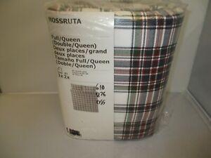 IKEA Mossruta Duvet Cover Queen & 2 Pillowcases Blue White Green Red Checked NEW