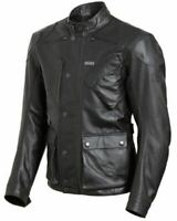 Triumph Mens Beaufort 2 Black Leather Motorcycle Motorbike Jacket D3O Armour