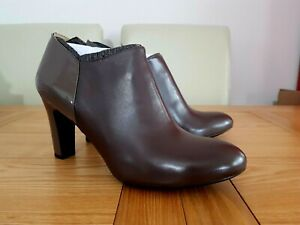 Geox Womens Respira N.Mariele H.A Chestnut Brown Leather Zip Up Ankle Boots UK 8