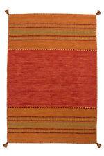 Tapis tissé à la main 100% coton Tapis poil ras rayures Terracotta 200x290 cm