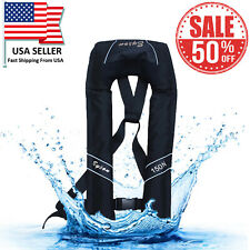 Adult Inflatable Life Jacket Automatic Manual Vest Lifesaving PFD Black Color