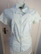 PATAGONIA Blue Shirt Blouse Top Organic Cotton UK 8 Stretch Outdoor Casual Hike