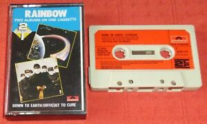 RAINBOW - UK CASSETTE TAPE - DOWN TO EARTH/DIFFICULT TO CURE - PAPER LABELS