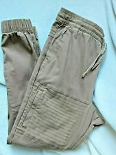 Ring of Fire Man Jogger Cargo Pants Size L Crops Casual Tan Elastic Waist *W172