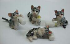 * Lot 4 Handmade Hand-Painted Miniature Ceramic Cat Kitten Milk Figurines-Grey*