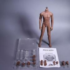 1/6th Stainless Steel Muscular Male Nude Body Set for Phicen Head Black Skin