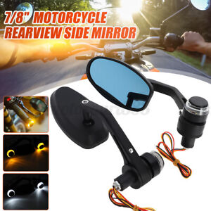 7/8'' Motorcycle Handlebar Bar End Rear Side View Mirror W/ LED Light Cafe Racer