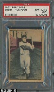 1952 Berk Ross Bobby Thompson New York Giants PSA 8 NM-MT (OC)