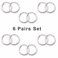 6 Pairs Set Super Small Mini Hoop Earrings Sterling Silver 925 1.2 mm x 10 mm