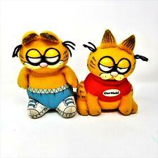 "2 Vintage 1983 Plush Talking Eyes Blink Pull String Garfield Doll by Mattel 10"""