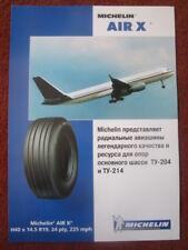 DOCUMENT PUB RECTO VERSO MICHELIN AIR X AIRCRAFT TIRE PNEU AVION TUPOLEV TU-204