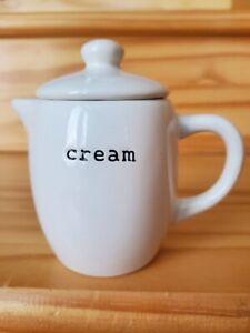 Pottery Barn Coffee House Condiment White Ceramic Replacement Creamer + Lid EUC