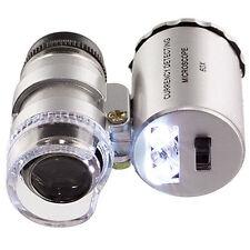 Mini Jeweler 60x LED Luz UV Microscopio de Bolsillo Joyería Magnifier Loupe Vidrio UK