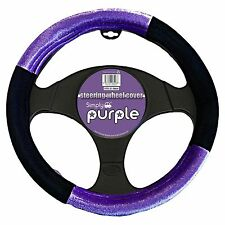 Universal Purple And Black Steering Wheel Cover Glove With Soft Padded Material