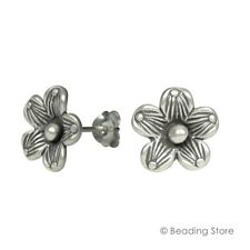 97-99% Fine Silver Hill Tribe 11.5mm Daisy Flower Hand Crafted Earrings Studs