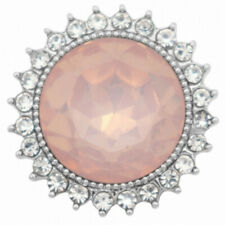 Fits Ginger Snap Jewelry Opaque Pink Clear Rhinestone Halo 18mm snap 1pc NIP