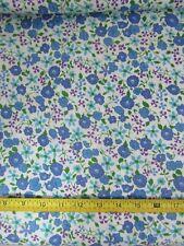 Vintage 32W Cotton Fabric Feedsack Era Violet Purple Blue Floral Dolls BTHY