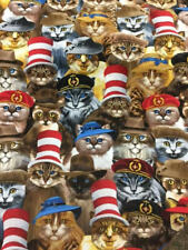 Fat Quarter Cats in Hats Cotton Quilting Sewing Fabric