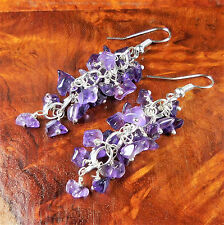 Amethyst Cluster Earrings Purple Silver Hook CC24 Healing Crystals And Stones