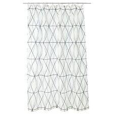 IKEA Shower Curtain FOLJAREN White Black Grey Densely Woven Polyester
