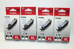 Lot of 4 Canon Pixma 270 XL Black PGBK Genuine New Sealed Free Shipping