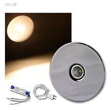2er Set 3W LED Einbaustrahler warmweiß, rund Chrom Einbauleuchten Spots Strahler