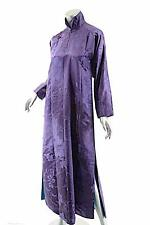 Vintage Antique Fabric Purple Floral Jacquard Mandarin Gown/Tunic Handmade- O/S