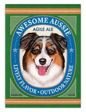 Retro Dogs Refrigerator Magnets - Awesome Aussie Ale (Australian Shepherd)