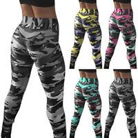 Damen Camouflage Leggings Hohe Taille Fitness Sport Gym Yoga Leggins Laufhose