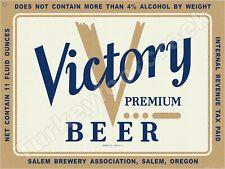 """VICTORY PREMIUM BEER LABEL 9"""" x 12"""" METAL SIGN"""