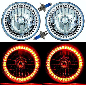 "7"" Halogen Amber Sc LED Halo Ring Angel Eye Headlight Headlamp Light Bulb Pair"