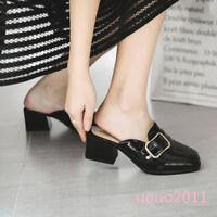 Women Block Heel Metal Buckle Square Toe Slingbacks Mules Slippers Slip On Shoes