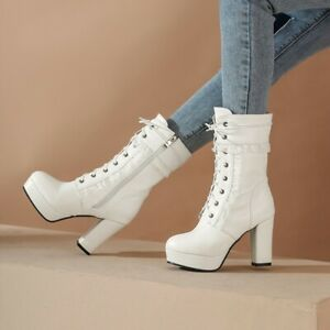 White Womens High Heels Mid-calf Boots Platform Round Toe Lace Up Long Zip Shoes