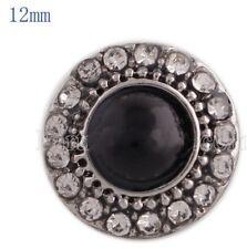 Rhinestone Black Pearl 12mm Mini Petite Snap Charm For Ginger Snaps  Jewelry