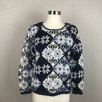 Reformation Women's Blue Printed Knit Sweater Crew Neck XS Small Pullover