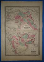 Vintage 1873 PERSIA - ARABIA MAP Old Antique Original Johnson's Atlas Map