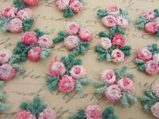 30 Pink/Green Embroidery Venise Lace Rose Flower Applique/Dress/Trim/sewing L41