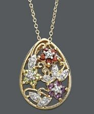 Macy's Necklace 3 Flowers Pendant 18KT. Gold Over Sterling Silver Genuine Stone