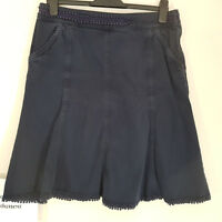 Ladies M&S PER UNA Blue A-line Skirt Jeans Denim Cotton Pockets Size 12