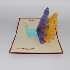 3D Creative Peacock Cards Paper Carving Birthday Anniversary Greeting Cards SI