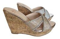 Silver Gold criss cross rhinestone Cork platform wedge slides sandals shoes